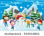 many children and snowman in... | Shutterstock .eps vector #543414841