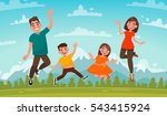 happy family on a background of ... | Shutterstock .eps vector #543415924
