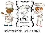 two chefs and menu sign... | Shutterstock .eps vector #543417871