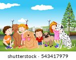 kids and their pet dogs in the... | Shutterstock .eps vector #543417979