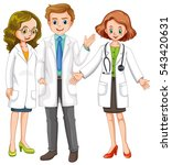 three doctors standing together ... | Shutterstock .eps vector #543420631