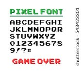 pixel font with 39 symbols and... | Shutterstock .eps vector #543423301