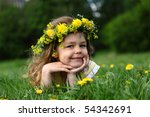 little girl with a wreath on a... | Shutterstock . vector #54342691
