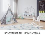 bright mint baby room style... | Shutterstock . vector #543429511