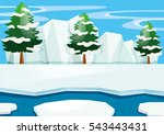 scene with snow on the ground... | Shutterstock .eps vector #543443431
