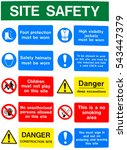 health and safety warning sign... | Shutterstock . vector #543447379