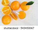 glass of fresh orange juice... | Shutterstock . vector #543450067