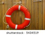 Old Red Lifebuoy On Wooden Wall