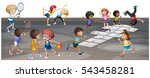 many children playing different ... | Shutterstock .eps vector #543458281