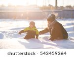 toddler boy  and mother playing ... | Shutterstock . vector #543459364