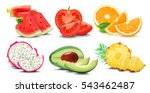 fruits and vegetables isolated... | Shutterstock . vector #543462487