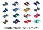 futuristic cars isometric icons ...