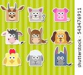 set of cute cartoon square home ... | Shutterstock . vector #543476911