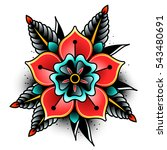 old school tattoo art flowers... | Shutterstock .eps vector #543480691