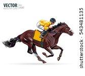 Stock vector racing horse with jockey equestrian sport vector illustration 543481135