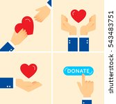 charity helping hands with red... | Shutterstock .eps vector #543483751