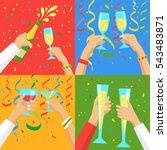 cheers  group of people... | Shutterstock .eps vector #543483871