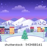 decorated christmas town in... | Shutterstock .eps vector #543488161