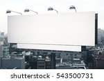 empty white billboard on city... | Shutterstock . vector #543500731