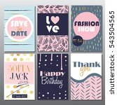 set of artistic creative cards... | Shutterstock .eps vector #543504565