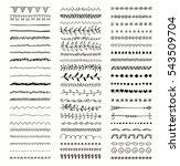 set of hand drawn black doodle... | Shutterstock . vector #543509704