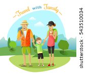 family trip with mother father... | Shutterstock . vector #543510034
