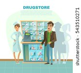 drugstore with pharmacist in... | Shutterstock . vector #543510271