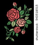 red roses embroidery on black... | Shutterstock .eps vector #543518515