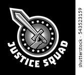 logo squad of justice  sword in ... | Shutterstock .eps vector #543523159