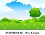 green summer landscape scene... | Shutterstock . vector #54353428