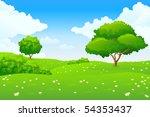 green summer landscape scene... | Shutterstock . vector #54353437