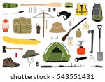 hiking icons set. camping... | Shutterstock . vector #543551431