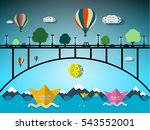hot air balloons and paper... | Shutterstock .eps vector #543552001