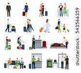 people in airport flat color... | Shutterstock . vector #543566359