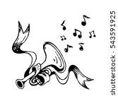 vector sketch trumpet and... | Shutterstock .eps vector #543591925