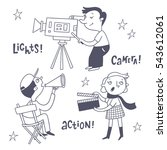 film shooting staff vector set. ... | Shutterstock .eps vector #543612061