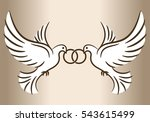 Two Doves. Stylized Pigeons An...