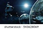 3d rendering of spaceship in... | Shutterstock . vector #543628069