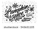 hand lettering pumpkin spice.... | Shutterstock .eps vector #543631105