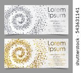 leaflets with spiral from gold... | Shutterstock .eps vector #543631141
