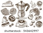 coffee and desserts vector set... | Shutterstock .eps vector #543642997