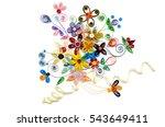 quilling paper flower designs... | Shutterstock . vector #543649411