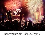 cheering crowd and fireworks  ... | Shutterstock . vector #543662449