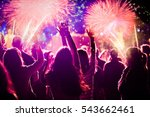 cheering crowd and fireworks  ... | Shutterstock . vector #543662461