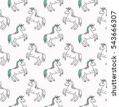 seamless pattern with funny... | Shutterstock .eps vector #543666307