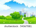 green summer landscape scene...   Shutterstock . vector #54367081