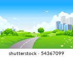 landscape   green hills with... | Shutterstock . vector #54367099