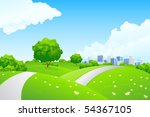 landscape   green hills with... | Shutterstock . vector #54367105