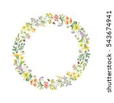 watercolor round frame with... | Shutterstock . vector #543674941