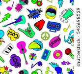 colorful fun seamless pattern... | Shutterstock .eps vector #543698539